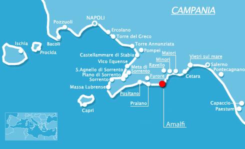 Cartina Costiera Amalfitana E Capri.Costiera Amalfitana Cartina E Come Muoversi Sorrento Sea Tours